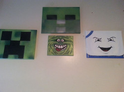 I think my little art collector is official done with his order. Minecraft Creeper and Zombie and Gh