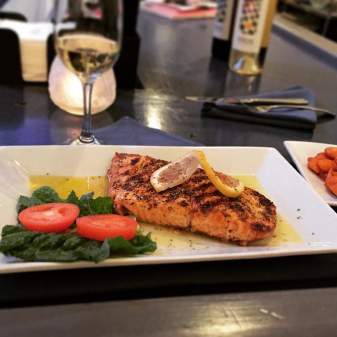 Enjoy Greek Salmon Steak at Papaspiros!