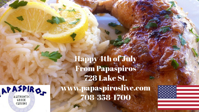 Happy 4th of July from Papaspiros Restaurant and Full Service Beverages. We Are Open July 4th and Al