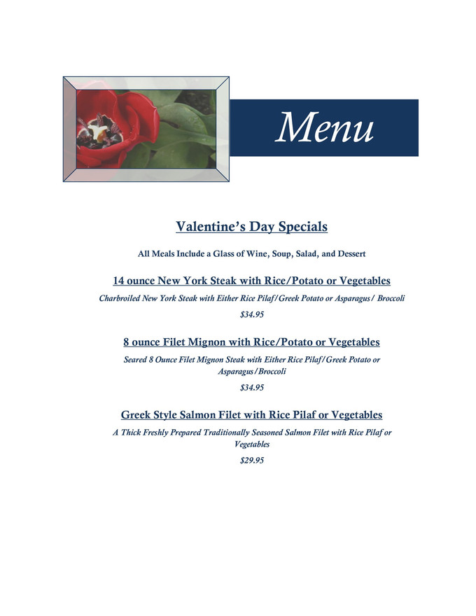 Enjoy our Valentine's Week Specials Menu at Papaspiros! Opa!