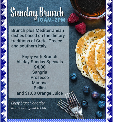 Enjoy a Continental Breakfast with A La Carte Menu Every Sunday 10 am to 2 pm