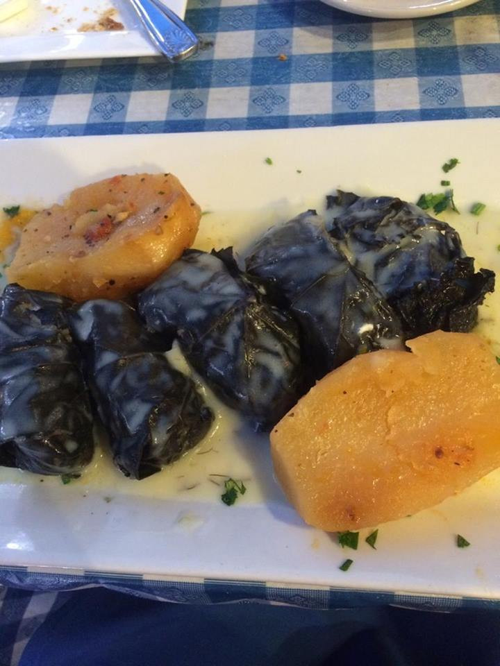 Dolmades Dinner in Lemon Sauce With Potato