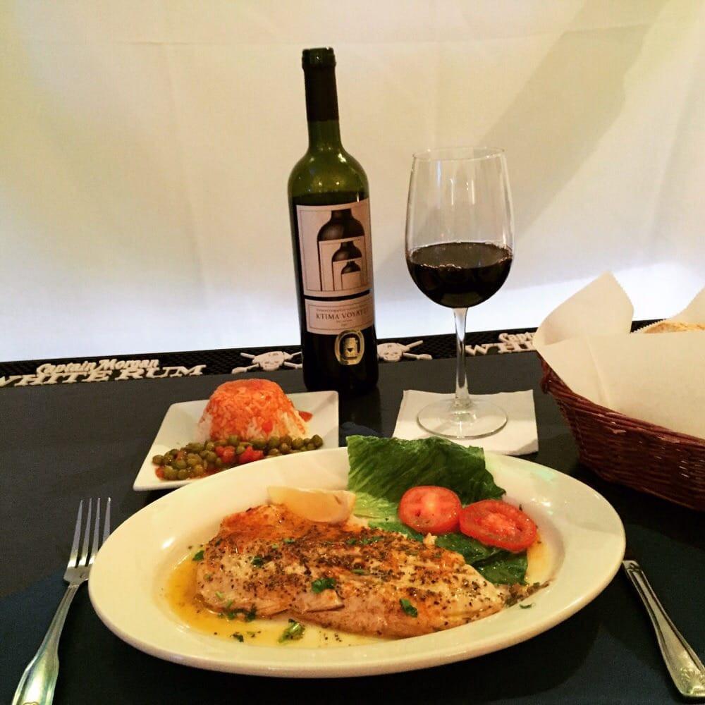 Tilapia Dinner with Kretikos Red Papaspiros Restaurant