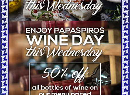 1/2 Price all Wine This Evening Up to Eighty Dollar Value