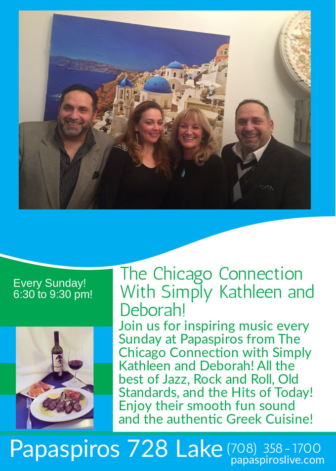 This Sunday Evening Enjoy The Excellent Music of The Chicago Connection with Simply Kathleen and Deb