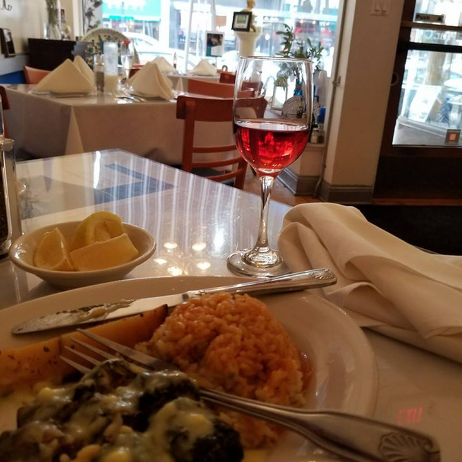 Enjoy a Roditis Rose with a Dolmades Dinner, or a Cherry Cosmopolitan and International Beers and Wi