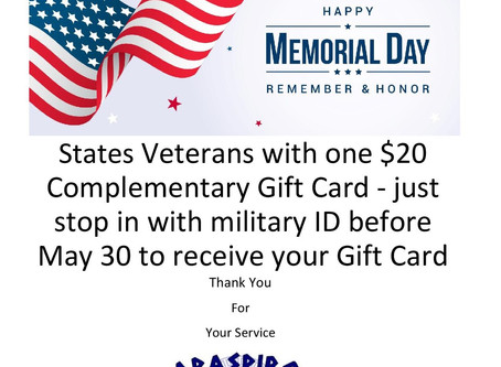 Papaspiros is Open Memorial Day Weekend Enjoy a $20 Gift Card All Veterans
