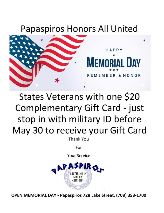 Papaspiros is Open Memorial Day Weekend Enjoy a $20 Gift Card All Veterans