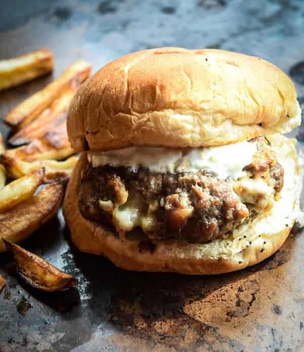 Hamburger with Feta and Greek Fries Papaspiros Restaurant