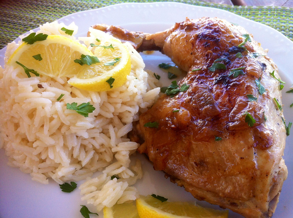 Chicken Riganati with Rice Pilaf