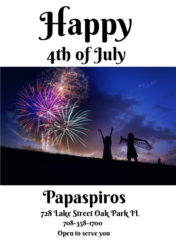 Papaspiros Restaurant and Full Service Bar is Open this July 4th! Opa!