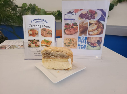 Enjoy a Fresh Dessert from Papaspiros! New is the Baklava Cheesecake with Honey and Nuts. Opa!