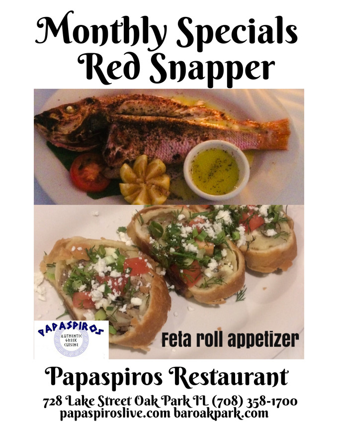 This Weekend Enjoy a Feta Cheese Roll Appetizer and Whole Grilled Red Snapper!