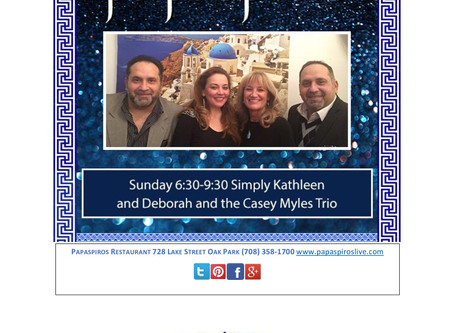 Enjoy Live Music From Casey Myles' Trio and Simply Kathleen Sunday 6:30-9:30!