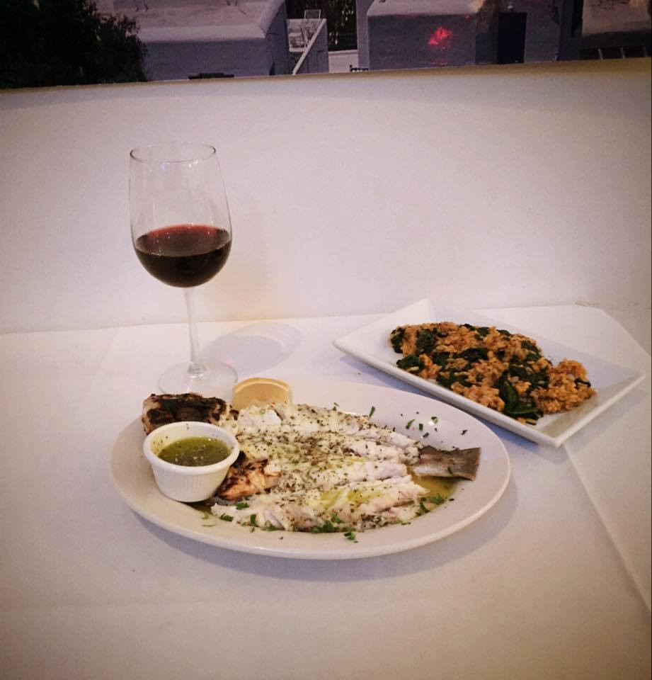 Kretikos Red Wine with Whole Grilled Sea Bass