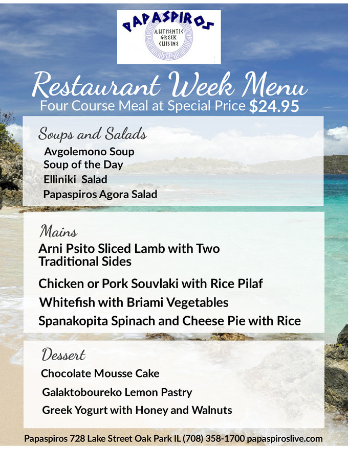 Join Us For Papaspiros Restaurant Week January 25th to February 3rd. Three Course Meal for $24.95 pa