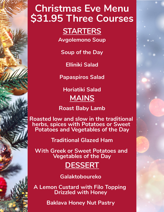 Enjoy a Special Christmas Eve Menu 728 Lake Street Oak Park IL 708-358-1700 papaspiroslive.com