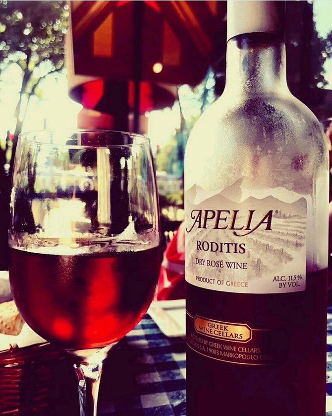 Enjoy an Apelia Roditis Rose with Your Greek Mediterranean Feast! Opa!