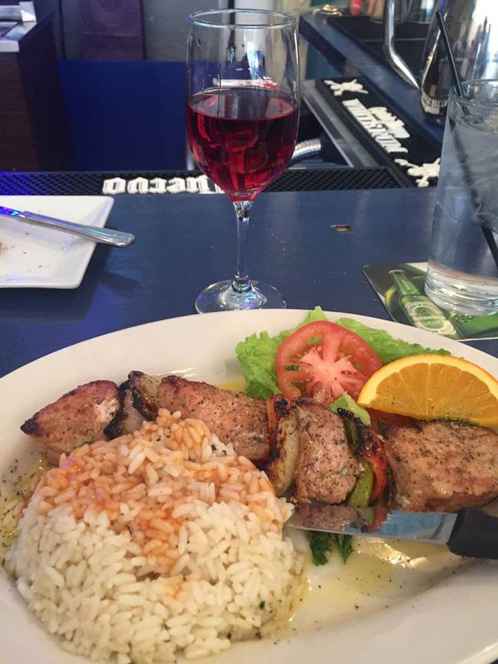Pork Marinated Flame Broiled Kebab Dinner Roditis Rose