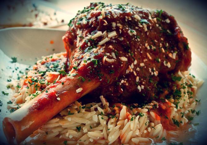 Enjoy a Delicious Kokonisto Leg of Lamb with a Ploes Cabernet Merlot at Papaspiros Restaurant! Opa!