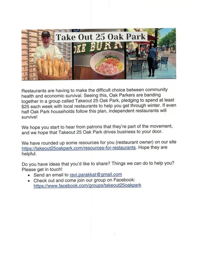There Is a New Program in Oak Park to Support Local Oak Park Restaurants Including Papaspiros! Opa!