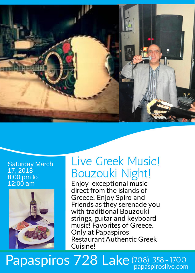 Join Us For Greek Music Night with Spiro and Friends! Singing, Circle Dancing, and Excellent Authent