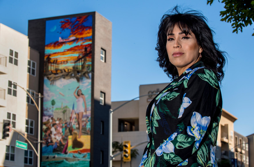 "SoCal Justice Law Group Client Sophia Larios, a transgender woman who has sued the city of Long Beach, stands in front of the Long Beach Police Department in downtown Long Beach on Friday, Dec. 28, 2018. The lawsuit alleges that Larios' civil rights were violated, that officers called her ""sir"" and ""it,"" and that she was ""groped"" and forcibly undressed by male officers at the department and city jail following her arrest in August of 2017. The department adopted a policy that deals with the treatment of transgender individuals in September. (Photo by Mark Rightmire, Orange County Register/SCNG)"