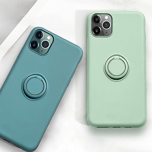 Soft Plain Silicon Cases for iPhones With Ring Holders