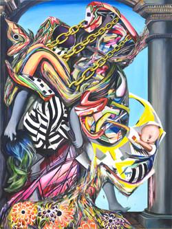 "Children of Aphrodite(2020) acrylic on canvas 48""h x 36""w"
