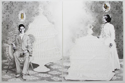 The Cage Went in Search of a Bird #2, 2016 graphite on cut paper, gold leaf, watercolor diptych: eac