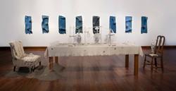 Table Conversation, 2016 borosilicate glass, blown glass, kiln-formed glass, latex tubing, sand, emb