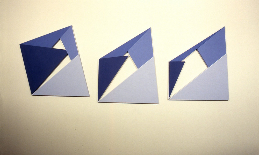 Charleen Kavleski, Mountain Pass, 2013, triptych, acrylic, shaped canvas