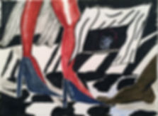 "Rosemary Mesa-DesPlas, ""I Look Like A Woman, I Cut Like A Buffalo"", watercolor, 10x8"""