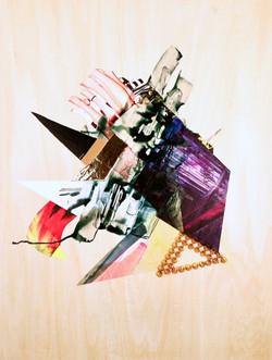 "Mixtape (2020) acrylic, studs, paper, fabric, vinyl, mylar on wooden panel 24"" h x 18"" w"