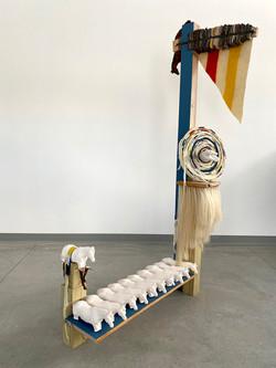 "Signal Post, 2021 Camp blankets, cast porcelain, wood, steel, horse hair 73"" x 42"" x 24"""