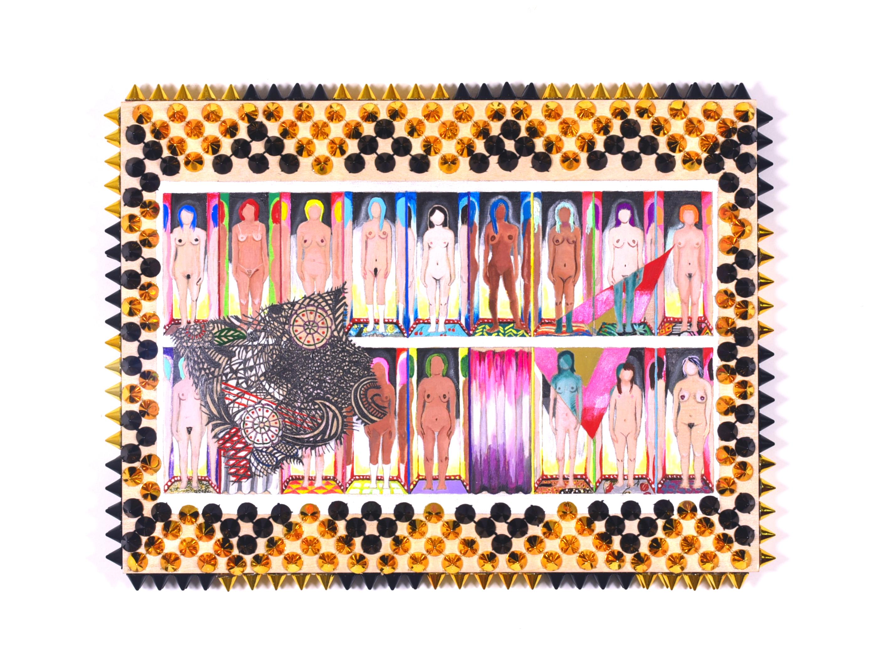 "Female Auction (2020) acrylic, studs, panel 9""h x 12""w"