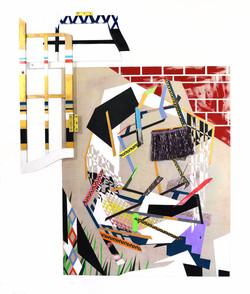 "Peeping Tom (2020) acrylic, enamel paint, frame, paper, wooden panel 39""h x 30""w x 2.5"" d"