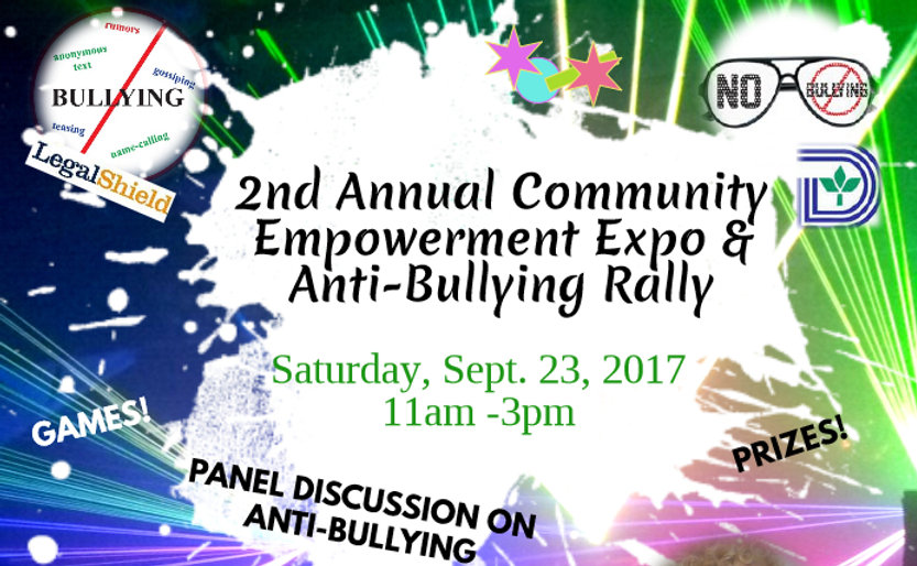 Anti-Bullying Rall free, February 25th, 11am-3pm. SELF DEFENSE CLASS! FACE PAINTING! FRRE FOOD & FUN! GAMES! PRIZES! WORKSHOPS!