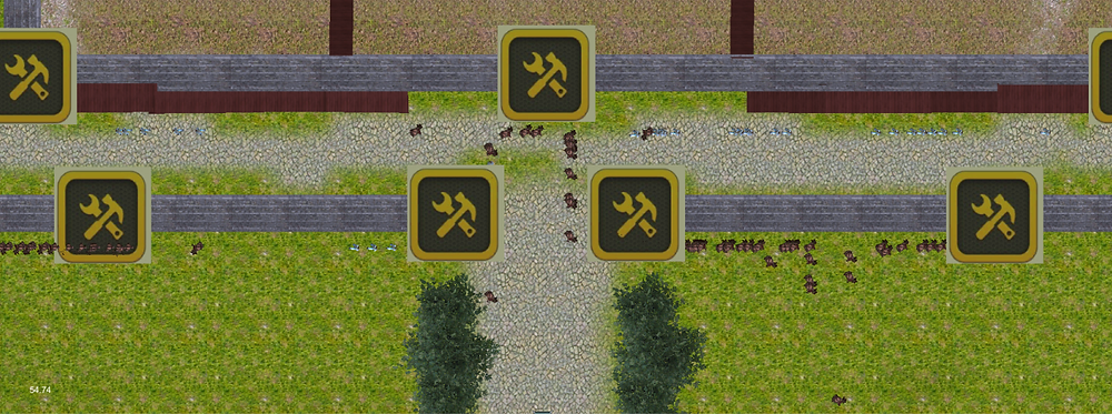 Characters choose the shortest path, choosing the left or right path according to the distance.