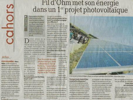 Fil d'Ohm met son énergie dans un premier projet Photovoltaïque - la dépêche 1er février 2019