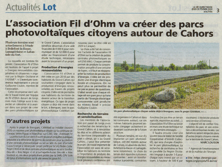 L'association Fil d'Ohm va créer des parcs photovoltaïques citoyens autour de Cahors