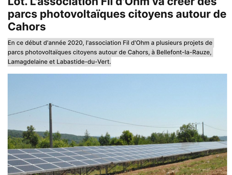 Lot. L'association Fil d'Ohm va créer des parcs photovoltaïques citoyens autour de Cahors
