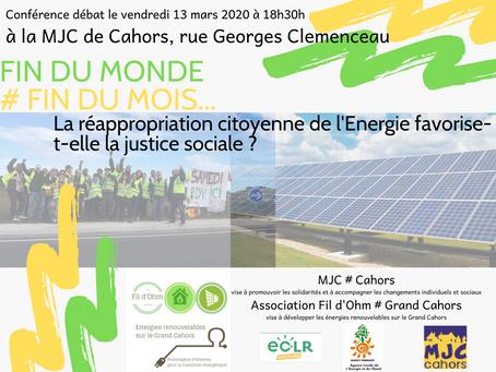 Conférence débat # La réappropriation citoyenne de l'Energie peut-elle favoriser la justice sociale