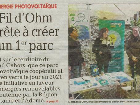 Fil d'Ohm porte le 1er parc photovoltaïque citoyen du Grand Cahors