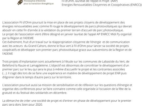 Communiqué de presse Lauréat AAP ENRCC