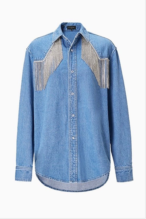 """All That Glitz "" fringe rhinestone jean top"