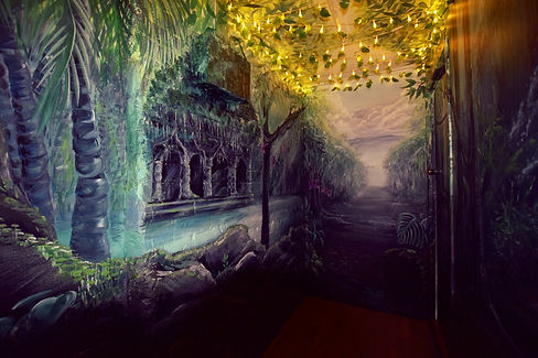 Traditional pained rainforest mural hallway