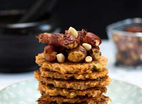 Red rice pancakes and bacon wrapped Kelewele