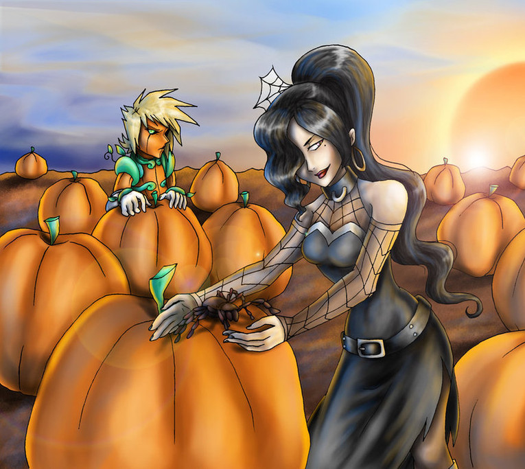 spider_in_the_pumpkin_patch_by_sakohju-d