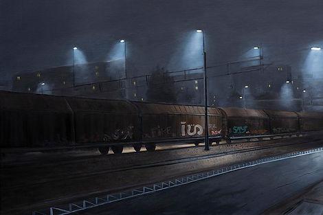 Järnvägsstation olja av Robert Stålbro